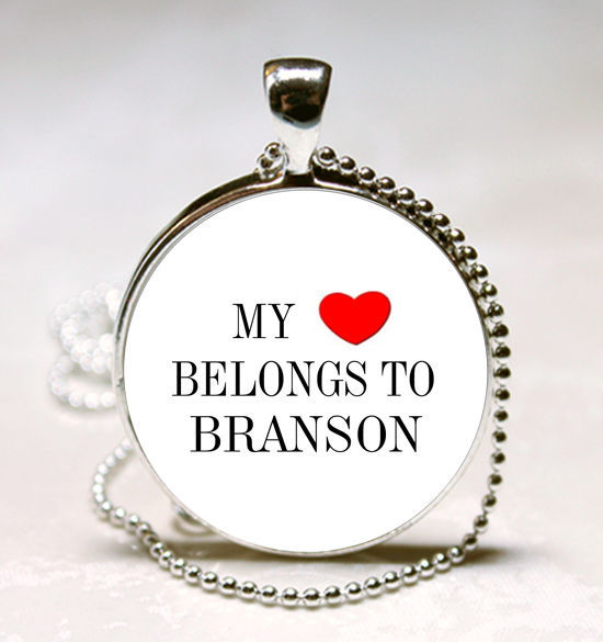 Primary image for Handmade My Heart Belongs to Branson Name Glass Dome Necklace Pendant (HNPD0358)