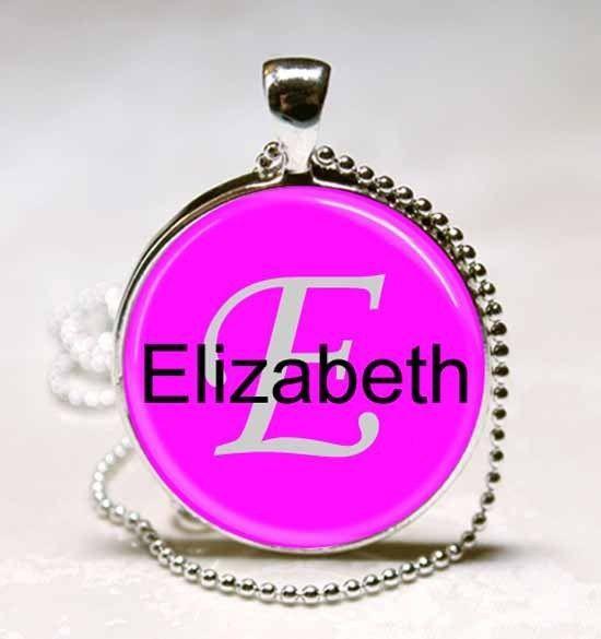 Handmade Elizabeth Name Monogram Glass Dome Necklace Pendant (NPD1420)