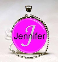Handmade Jennifer Name Monogram Glass Tile Necklace Pendant - $10.99