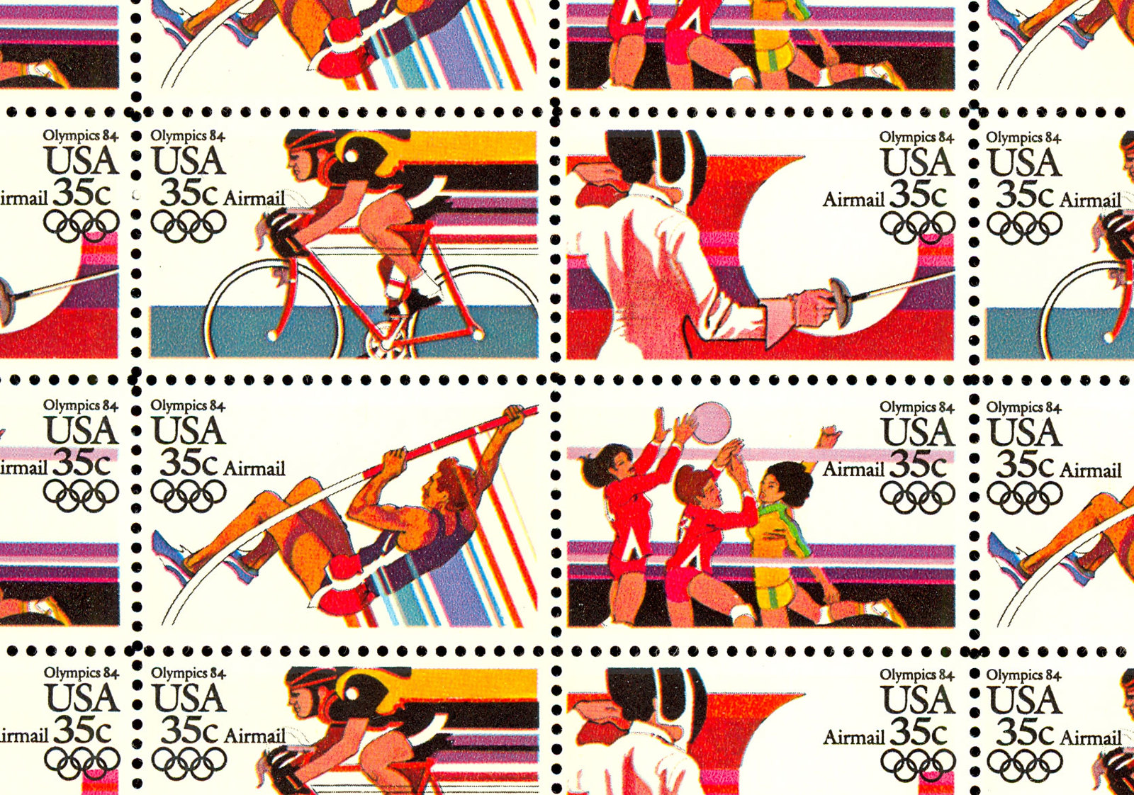 C109-12a Complete Sheet of 50 1984 Olympics 35 Cent Airmail Stamps - Stuart Katz
