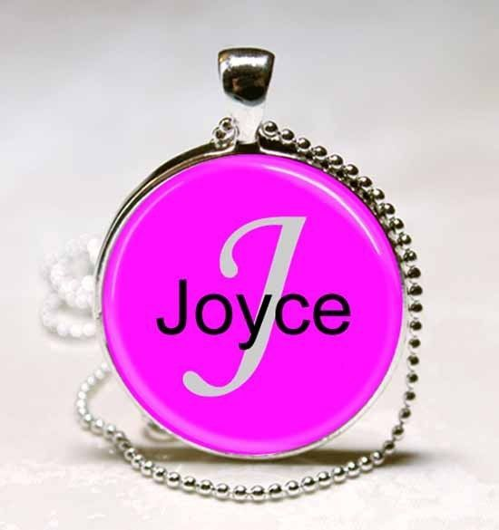 Primary image for Handmade Joyce Name Monogram Glass Dome Necklace Pendant (NPD3001)