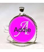 Handmade Addie Name Monogram Glass Dome Necklace Pendant (NPD0009) - $10.99