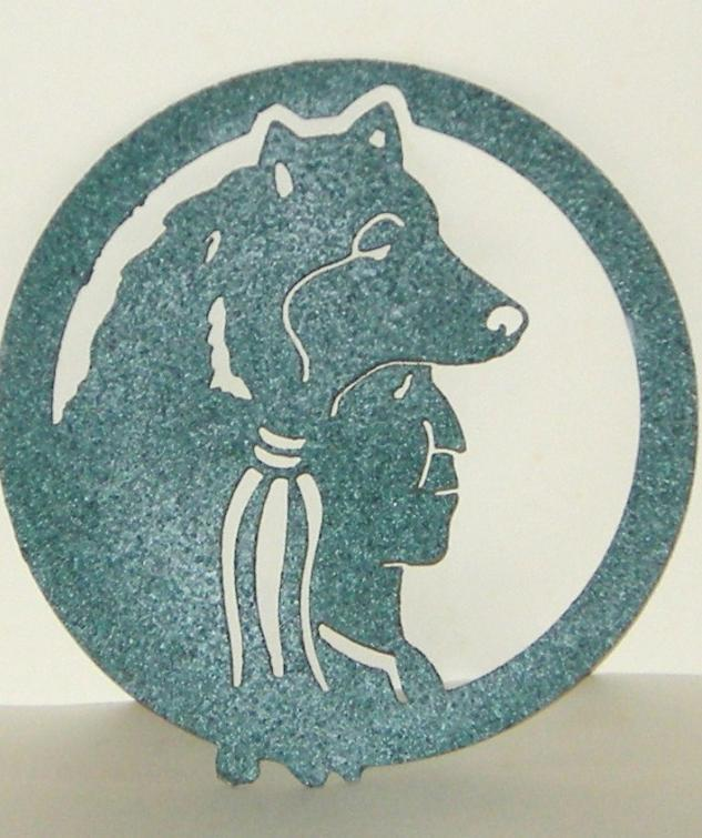 Primary image for Metal Green Textured Finish Indian Wolf Headdress Hanging Circle Wall Door Art