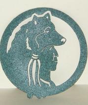 Metal Green Textured Finish Indian Wolf Headdress Hanging Circle Wall Do... - $8.00