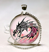 Red Dragon Glass Dome Photo Necklace Pendant  (PD0520) - $10.99