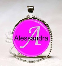 Handmade Alessandra Name Monogram Glass Tile Necklace Pendant - $10.99