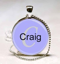 Handmade Craig Name Monogram Glass Tile Necklace Pendant - $10.99
