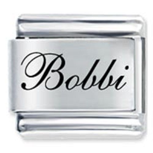 9mm Bobbi Laser Name Italian Charm ( F )  (LN0539)