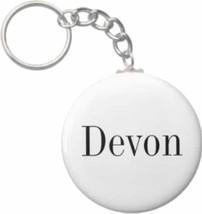 2.25 Inch Devon Name Button Keychain - $3.25