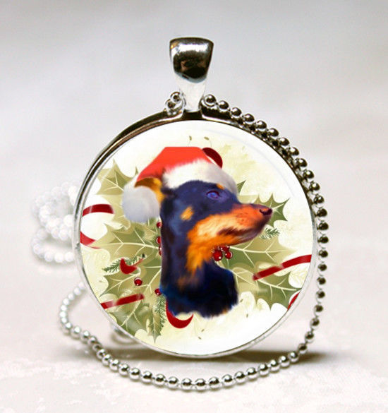 Primary image for Christmas Doberman dog Holly Handmade Glass Tile Jewelry Necklace Pendant