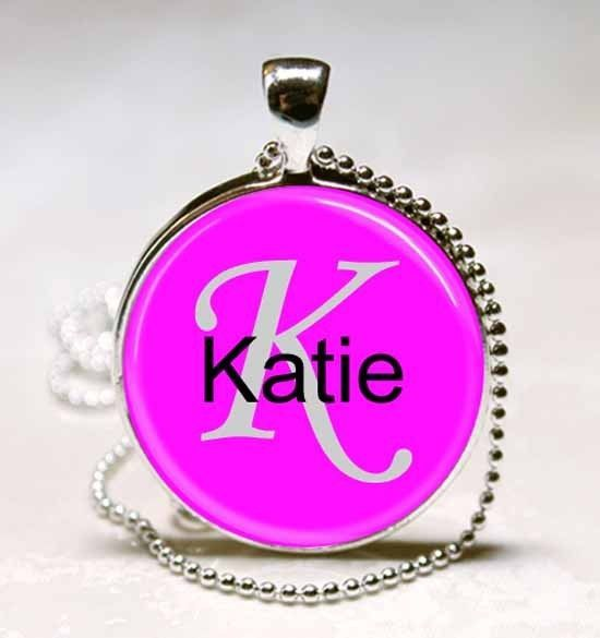 Primary image for Handmade Katie Name Monogram Glass Tile Necklace Pendant (NPD3420)
