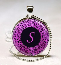 Letter S - Purple leopard Print Monogram Glass Tile Jewelry Necklace Pendant - $10.99