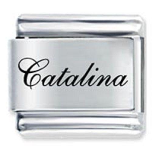 9mm Catalina Laser Name Italian Charm ( F )  (LN0756)