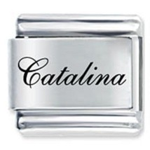9mm Catalina Laser Name Italian Charm ( F )  (LN0756) - $3.25