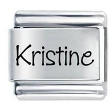 9mm Kristine Laser Name Italian Charm ( P )  (LN2221) - $3.25