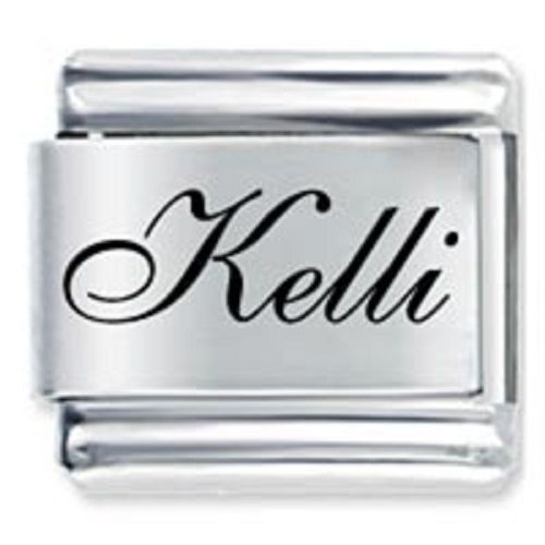 Primary image for 9mm Kelli Laser Name Italian Charm ( F )  (LN2098)