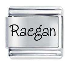 9mm Raegan Laser Name Italian Charm ( P )  (LN3041) - $3.25