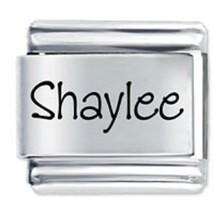 9mm Shaylee Laser Name Italian Charm ( P )  (LN3326) - $3.25