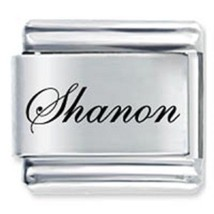 9mm Shanon Laser Name Italian Charm ( F )  (LN3287) - $3.25