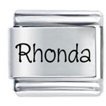 9mm Rhonda Laser Name Italian Charm ( P ) (LN3101) - $3.25