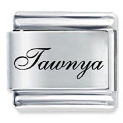 9mm Tawnya Laser Name Italian Charm ( F )  (LN3593)