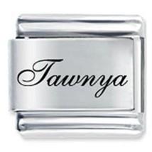 9mm Tawnya Laser Name Italian Charm ( F )  (LN3593) - $3.25
