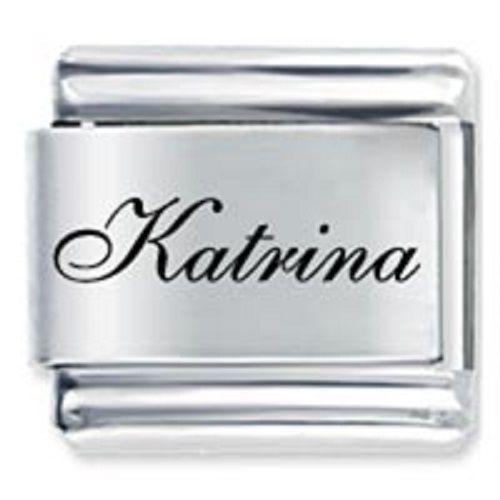 9mm Katrina Laser Name Italian Charm ( F ) (LN2043)