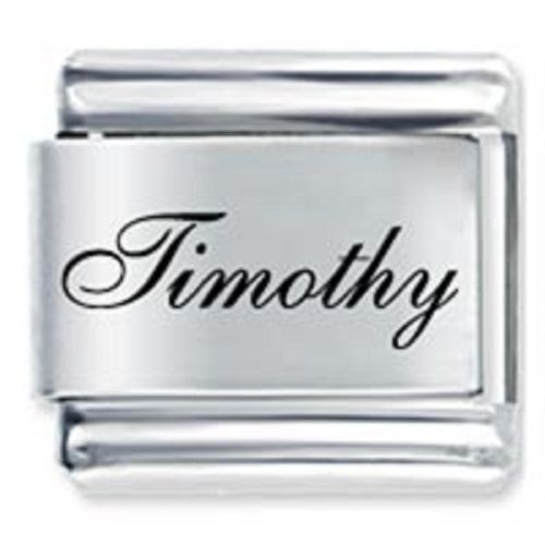 9mm Timothy Laser Name Italian Charm ( F )  (LN3634)
