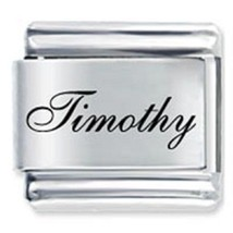 9mm Timothy Laser Name Italian Charm ( F )  (LN3634) - $3.25