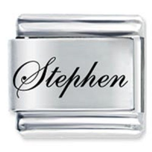 9mm Stephen Laser Name Italian Charm ( F )  (LN3450)