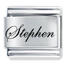 9mm Stephen Laser Name Italian Charm ( F )  (LN3450) - $3.25
