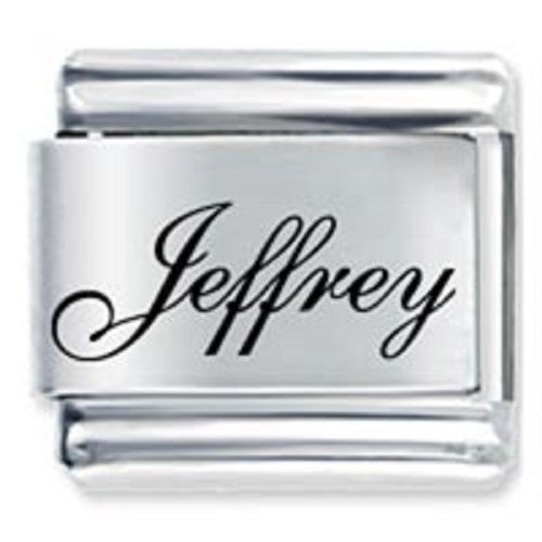 9mm Jeffrey Laser Name Italian Charm ( F ) (LN1741)