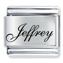 9mm Jeffrey Laser Name Italian Charm ( F ) (LN1741) - $3.25