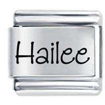 9mm Hailee Laser Name Italian Charm  ( P )  (LN1438) - $3.25