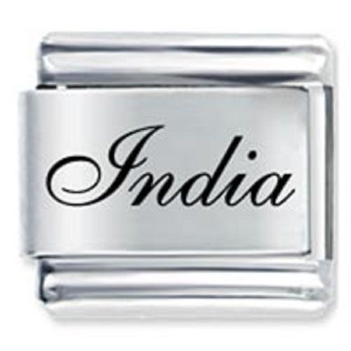 9mm India Laser Name Italian Charm ( F ) (LN1519) image 1