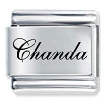 9mm Chanda Laser Name Italian Charm ( F )  (LN0789) - $3.25