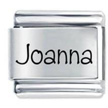 9mm Joanna Laser Name Italian Charm ( P )  (LN1797) - $3.25