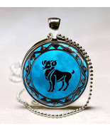 Aries Zodiac Horoscope Blue Moon Background Glass Dome Pendant - $10.99