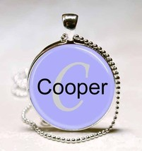 Handmade Cooper Name Monogram Glass Tile Necklace Pendant - $10.99
