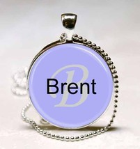 Handmade Brent Name Monogram Glass Tile Necklace Pendant image 1