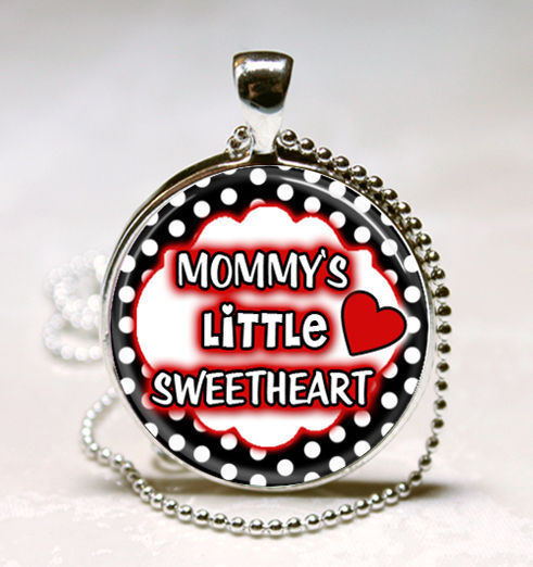 Mommys Little Sweetheart Photo Glass Tile Necklace Pendant