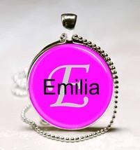 Handmade Emilia Name Monogram Glass Tile Necklace Pendant - $10.99