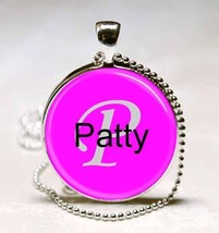 Handmade Patty Name Monogram Glass Tile Necklace Pendant - $10.99
