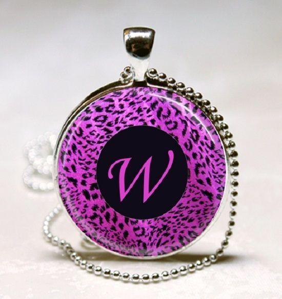 Letter W - Purple leopard Print Monogram Glass Tile Jewelry Necklace Pendant