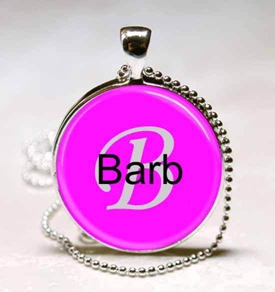 Primary image for Handmade Barb Name Monogram Glass Dome Necklace Pendant (NPD0303)