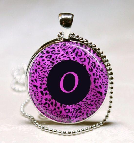 Letter O - Purple leopard Print Monogram Glass Tile Jewelry Necklace Pendant