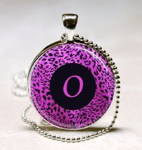 Letter O - Purple leopard Print Monogram Glass Tile Jewelry Necklace Pendant image 1