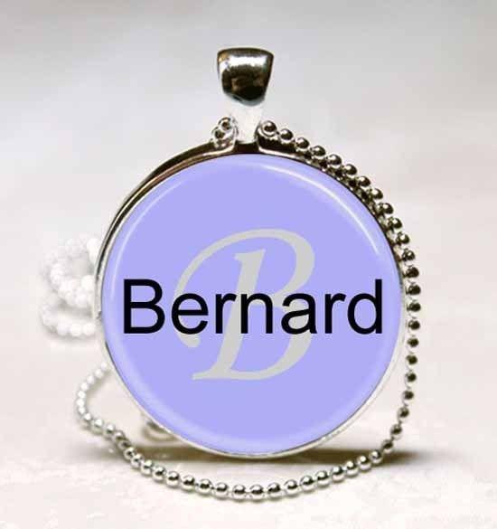 Handmade Bernard Name Monogram Glass Dome Necklace Pendant (NPD0319)