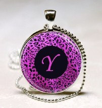 Letter Y - Purple leopard Print Monogram Glass Tile Jewelry Necklace Pendant - $10.99