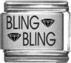 9mm Bling Bling Laser Italian Charm (LA5143) - $3.50